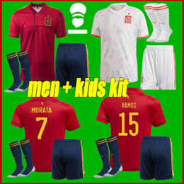 white spain soccer jersey 2021 - Adult + kids kit 20-21 Spain home Away Soccer Jersey 2122 ASENSIO MORATA ISCO INIESTA PACO ALCACER Football shirts