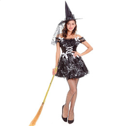 Wholesale sexy witch halloween fancy dress online – ideas Black Sexy Witch Costume Adult Womens Magic Moment Costume Halloween Carnival Party Cosplay Witch Fancy Dress