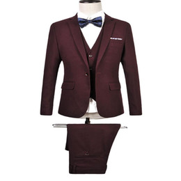 Wholesale 3 piece suit for sale - Group buy 2020 New Solid Mens Suits With Pants and Vest Groom Tuxedo Dress Pieces Slim Fit Formal Man Suit Party Wedding Prom Jacket