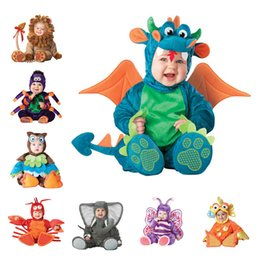 Discount baby boy dinosaur clothes New Arrival High Quality Baby Boys Girls Halloween Dinosaur Costume Romper Kids Clothing Set Toddler Co-splay Triceratop
