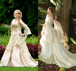Wholesale nude cosplay resale online - Vintage Gothic Wedding Dresses Princess Corset Back Long Sleeve Country Garden Wedding Dress Celtic Renaissance Cosplay Boho Bridal Gowns