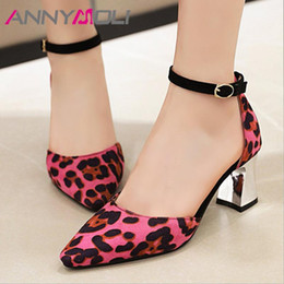 brown thick heels open toe 2021 - ANNYMOLI Ankle Strap Women Pumps Leopard High Heels Shoes Pointed Toe Thick Heel Footwear Ladies Summer Brown White Big Size 46