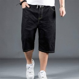 Discount lace shorts jeans Men Half Jeans Vintage Stretch Denim Shorts Lace Up Regular Fit Summer Casual Fashion Black Dark blue Light blue Jeans 9