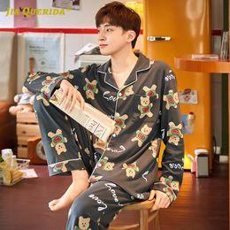 Wholesale man pajamas for sale - Group buy Set Fashion Style Casual Style Turn Down Collar Cartoon Printing Sleepwear Man New Long Sleeve Long Pants Printing Pajamas