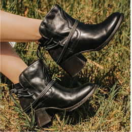 bikers boots UK - Winter Women Biker Ankle Boots PU Leather Wipe Color High Heel Lace Up Rubber Round Toe Black Platform Ladies Shoes Botas Mujer 201021