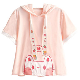 Wholesale cute anime shirts online – design Lolita Lovely Cat Ears T shirt Women Kawaii Strawberry Funny s Girl Tees Female Tops Cute Heart Anime Graphic Pink T Shirts