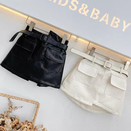 Wholesale belt bottoms resale online - INS Newest Spring Autumn girls PU skirt baby skirt kids skirt children bottoms fashion faux leather waist belt front pockets T