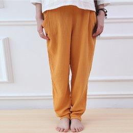 Wholesale black linen trousers women resale online – Johnature Colour Women Brief Pants Elastic Waist Autumn New Casual Cotton Linen Trouser Vintage Suitable Pockets Pants