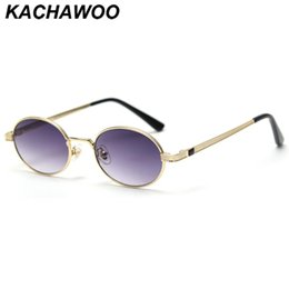 Discount round metal eyewear Kachawoo metal vintage sunglasses oval gold blue female small frame round eyewear men outdoor uv400 retro style birthday gifts