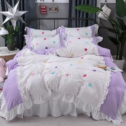 Discount ruffled king bedding set 4Pcs Washing silk Princess style luxury bedding sets queen king size duvet cover set bed skirt set pillowcase silk bedcl