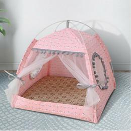 Pet Cat Dog Teepee палатки домики с подушкой доски клетчатые принадлежности, портативные, портативные, дерево холст типи падают маленькие животные кровать на Распродаже