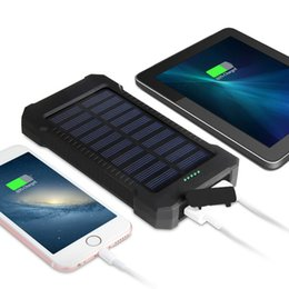 iphone externo venda por atacado-20000mAh Solar Power Bank com Led Light bateria externa de carga portátil de carregamento PoverBank powerbank para Samsung Xiaomi iphone