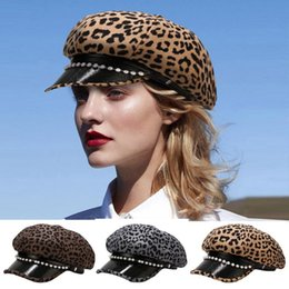 Wholesale print artists for sale – custom Fashion Outdoor Autumn And Winter Leopard Printed Hat Woolen Beret Pearls Peaked Cap Stylish Women Adult Artist Hat Gorras p3