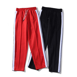 Wholesale striped sweatpants for sale - Group buy Mens Designer Palm Loose Sports Pants Rainbow Side Stripes Drawstring Zipper Trousers Casual Sweatpants Angel M XL
