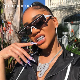 wholesale mirrored flat top sunglasses 2021 - Cat eye sunglasses female retro men's glasses flat top outdoor sports brand designer trumpet shade UV400 glasses mirror lens