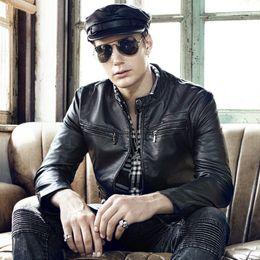 Wholesale multi color leather jacket resale online – GustOmerD Autumn New Men s Jacket Stand Collar Casual Zipper Long Sleeve Leather Jacket Solid Color Multi pocket Men