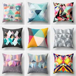 colorful geometric pillows 2021 - 45*45cm Colorful Abstract Geometric Cushion Cover Polyester Throw Pillows Square Cushions for Sofa Home Decoration Pillowcase