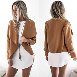 Wholesale fashion womens spring jackets resale online – Womens Jacket Crop jacket women Turn down Collar Open Stitch coat women Loose Streetwear Cotton fashion long sleeve Spring autumn clothings