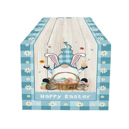 lapin court achat en gros de-news_sitemap_homePâques Gnome Table Runner Coton Draps Happy Pâques Gnomes Rabbit Bunny Table d oeufs colorés Non Slip Runner GWB4817