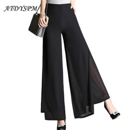 Wholesale chiffon wide legged trousers resale online – Wide Leg Double Layer Chiffon Trousers Sexy Slit High Waist For Women Summer Loose Casual Pants