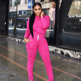 running hoodies for women UK - Women 2 Pcs Running Set 2020 Spring Sexy Tracksuit Women Full Sleeve Hoodies Pullover Top Pants Suits Casual Clothes For