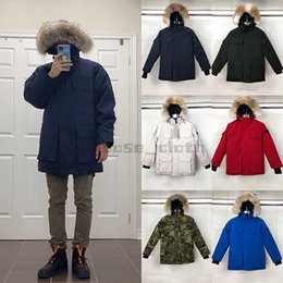 Wholesale big hooded jacket mens resale online - 2021 Mens Down Jackets Veste Homme Outdoor Winter Jassen Outerwear Big Fur Hooded Fourrure Manteau Down Jacket Coats Hiver Parkas Doudoune