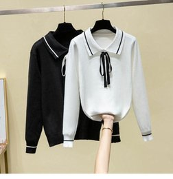 Wholesale winter clothes for plus size ladies for sale - Group buy Sweater for Women Winter Clothes Black White Bow Lady Top Elegant Fashion Knitted Sweater Hedging Lapel Winter Plus Size