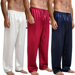 Wholesale pyjama pants men resale online - Casual Men Pants Loose Silk Satin Pajamas Nightwear Sleepwear Pyjamas Pants Sleep Bottoms Trousers1