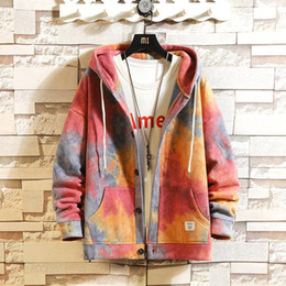 Wholesale colorful hoodies jackets resale online - Tie dyed jacket Korean Style Men Hoodies Autumn Fashion Mens Hooded Outerwear Colorful Male