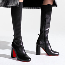 genuine leather over knee boots NZ - Elegant Woman Black Tall Boots Kronobotte Style,Square Heels Black Genuine Leather Zipper Knee Over Boot Party Wedding Dress Shoes High Qua