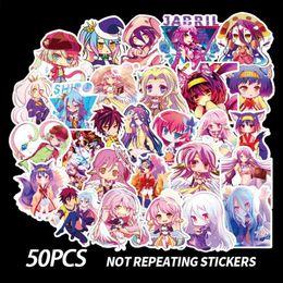 50pcs No Game No Life Sticker Anime Crystal Cute Sticker Waterproof Skateboard Decals Luggage Graffiti Cool Diy Sticker For Kid sqcTHc