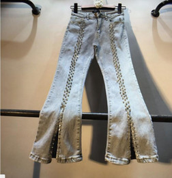 crotch jeans women 2021 - New 2020 Spring Fashion Heavy Drilled Rhinestone Beaded High Waist Jeans Pants Female Slim Open Crotch Flare Denim Trousers1
