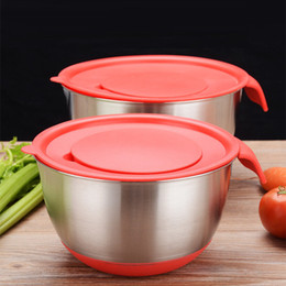 stainless steel bowls UK - Stainless Steel Bowls With Lid Silicone Mix Scale Anti-Slip Bottom Salad Egg Bowl Storage Wash Vegetable Tools WX9-382