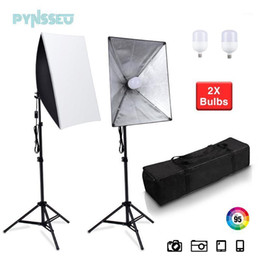 soft light box photography UK - PYNSSEU Professional Soft Box Photo Lighting Box 50x70CM Photography Studio Equipment with 2M Adjustable Stand for YouTube Video1