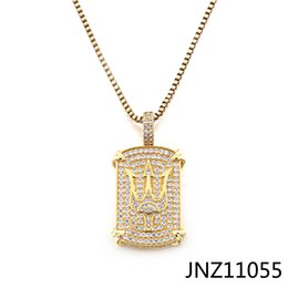 coolest dog tags 2021 - Europe and America Creative Trident Necklace Pendant Customized Wholesale Zircon Hip Hop Fashion Cool Dog Tag Pendant Je