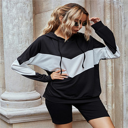yoga shorts outfit Canada - Hooded Womens Tracksuits Patchwork Long Sleeve Hoodies and Slim Yoga Shorts Casual Women 2 Piece Outfit Sets High Street