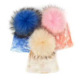 fur hats for kids UK - Winter Real Fur Pompom Hat for Kids Knit Beanies Hats for Newborn Baby Girls Boys Ribbed Cotton Multi Color Fur Pom Pom Cap