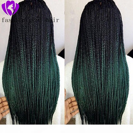 premium synthetic lace wigs 2021 - Black Ombre Green Wig Synthetic Braided Lace Front Wigs For Women High Temperature Fiber Hair Wigs Premium Braid Wigs