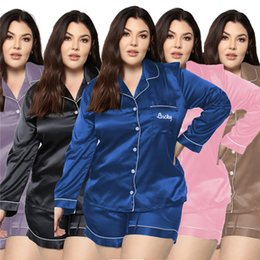 Wholesale Letter Embroidery Womens Plus Size Sleepwears Fashion Long Sleeve Short Pants Womens 2PCS Plus Size Nightwears Casual Females Clothing