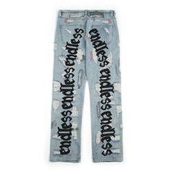 Wholesale old jeans resale online - Endless Men Women Jeans High Quality Hip Hop Denim Pants Embroideredy Broken Do Old Hole Streetwear Jeans