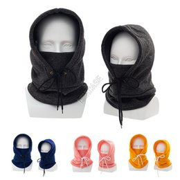 Knitted Winter Hat Kids Children Adults Beanie Warm Scarf Collar Face Mask Thin Fleece Skull Caps Full Head Trooper Mask Skimask D