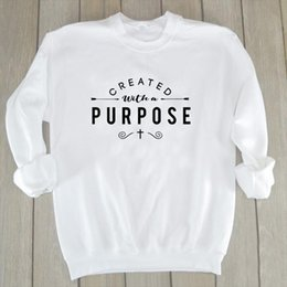 create a hoodie 2021 - Created with A Purpose Graphic Sweatshirt funny cute Christian Religion Aesthetic Hoodie Women Pullovers Top Jesus Drop