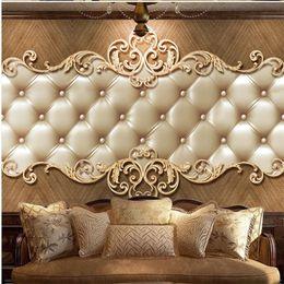 Venta al por mayor de retro Europea bolsa blanda de TV atmosférica pared del fondo 3d mural murales de papel tapiz para la sala de estar