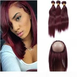 Discount burgundy hair wefts Malaysian Wine Red Virgin Human Hair Wefts with 360 Frontal Straight #99J Burgundy 360 Lace Frontal Closure Pre Plucked