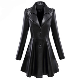 Wholesale fit and flare coat for sale – winter Fit and flare faux leather coat notched lapel long sleeve puff sleeve Skirted black plus size leather blazer slim fit