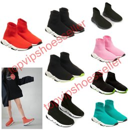 Wholesale crew boot online – design 2020 Sell Childrens Kid Sock shoes Vetements crew Sock Runner Trainers Shoes Kids Shoes Hight Top Sneakers Boot Eur