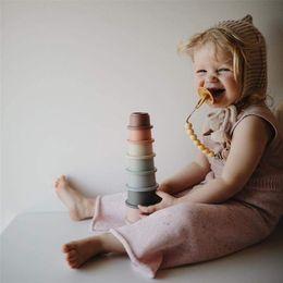 Baby Stacking Cups Spielzeug Baby Spielzeug 0-12 Monats Stapel Tasse Turm Bausteine Frühe pädagogische Pädagogische Spielzeug für Kinder Geschenk LJ201124 im Angebot