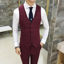 Wholesale high end men s suit resale online - High end Men Tartan Suit Vests Size S M L XL XL XL Slim Elegant Business Wedding Banquet Groom Dress Vest1