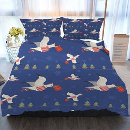 Wholesale quirky gifts online – design Christmas Bedding Piece Duvet Cover Sets Christmas Quirky Seagulls With Gifts Seamless Home Luxury Soft Duvet Comforter Cover Twin
