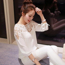 Wholesale crochet blusa for sale - Group buy Elegant Women Blouses Long Sleeve White Shirts Summer Fashion Women Tops Slim Lace Crochet Hollow Out Blouse Blusa Feminina1